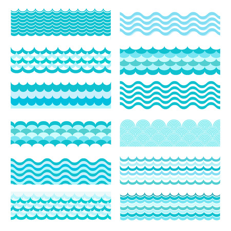 Ilustración de Collection of marine waves. Sea wavy, ocean art water design. Vector illustration - Imagen libre de derechos