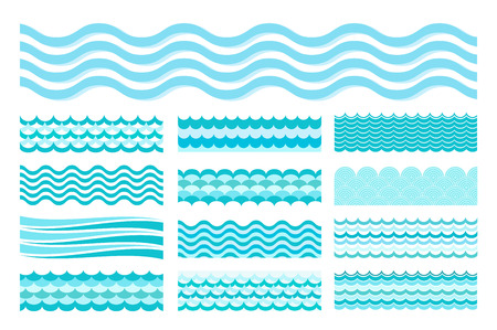 Illustration pour Collection of marine waves. Sea wavy, ocean art water design. Vector illustration - image libre de droit
