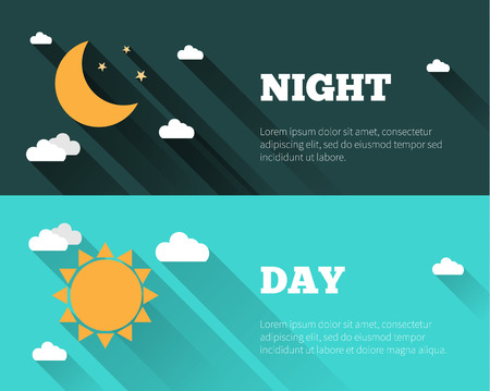 Illustration pour Sun, moon and stars, clouds icons. Day and night sky vector banners. Flat style illustration with long shadows. Day time concept posters. - image libre de droit