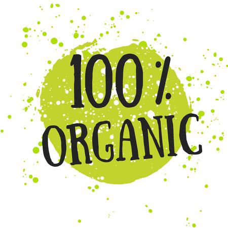 Ilustración de Eco icon with leaf, vector bio sign on watercolor stain with watercolor spots. Vector banner 100% natural organic concept with leaves. Watercolor poster with natural organic food concept. - Imagen libre de derechos