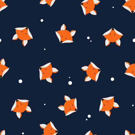 Photo pour Cute foxes seamless vector pattern. Vector cute cartoon fox seamless pattern. Orange fox's head on dark background. Good for print, textile, wallpaper, decoration. Fox silhouette. - image libre de droit