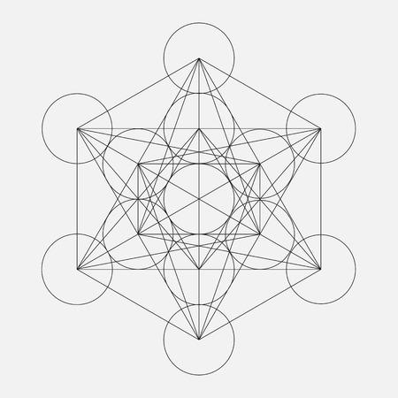 Illustration pour Metatron's Cube. Flower of life. Vector Geometric Symbol isolated. Sacred Geometric Figure named Metatrons Cube. Holy Glyph. - image libre de droit