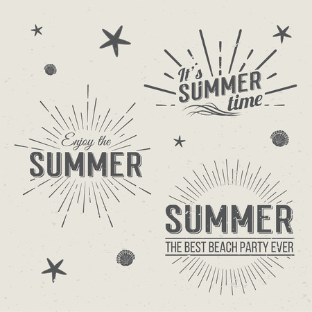 Illustration pour Set of Summer Time  Templates. Isolated Typographic Design Label. Summer Holidays lettering for invitation, greeting card, prints and posters. Summer party Vector template. Enjoy The Summer. - image libre de droit