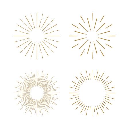 Ilustración de Retro Sun burst shapes. Vintage starburst logo, labels, badges. Sunburst minimal logo frames. Vector firework design elements isolated. Sun burst light logo. Minimal vintage gold firework burst. - Imagen libre de derechos