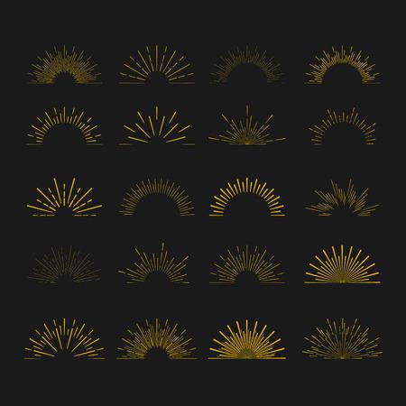 Ilustración de Retro Sun burst shapes. Vintage starburst logo, labels, badges. Sunburst minimal logo frames. Vector firework design elements isolated. Sun burst light logo. Minimal vintage gold firework burst icon - Imagen libre de derechos