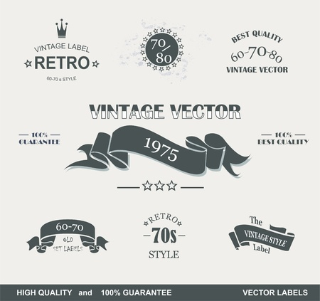 Illustration for Vintage Styled Premium Quality  Labels and Ribbons collection with black grungy design   - Royalty Free Image