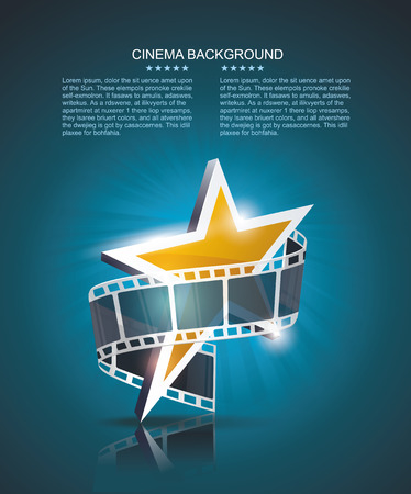 Illustration for Film strip roll with gold star. Vector cinema background. - Royalty Free Image