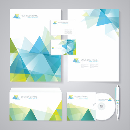 Ilustración de Corporate identity template with blue and green geometric elements. Documentation for business. - Imagen libre de derechos