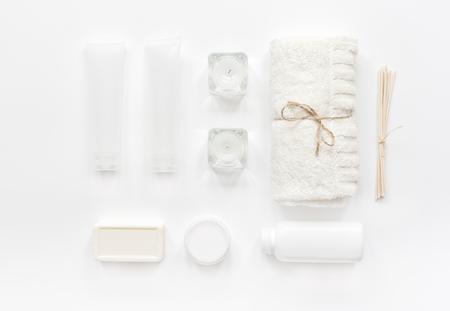 Foto de white cosmetic set for body care on woman desk background top view - Imagen libre de derechos