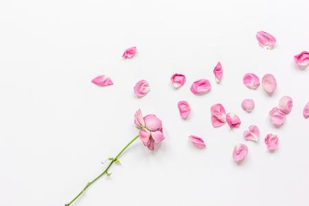 Foto de spring floral design with rose petals in soft light top view mock-up - Imagen libre de derechos