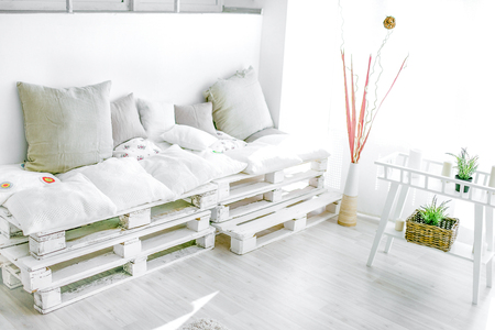 Photo for pallet interior home - white and bright sunny room - Royalty Free Image