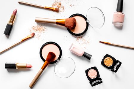 Foto de decorative cosmetics nude on white background top view. - Imagen libre de derechos