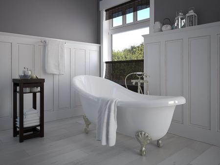 Foto de Vintage beige color bathroom with a golden sanitary engineering - Imagen libre de derechos