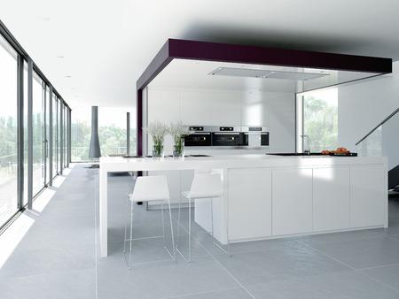 Photo pour a clean modern kitchen interior. design concept - image libre de droit