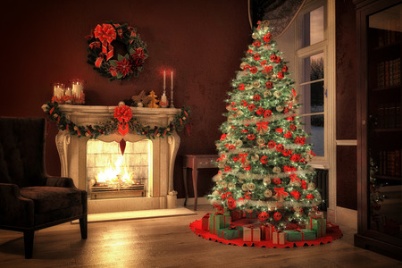 Foto de Christmas scene with tree  gifts and fire in background. 3D rendering - Imagen libre de derechos