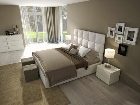 Photo pour Big modern Bedroom in an chic apartment. - image libre de droit