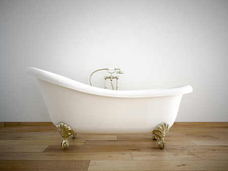 Foto de Vintage bath tube in a room with a color wall - Imagen libre de derechos