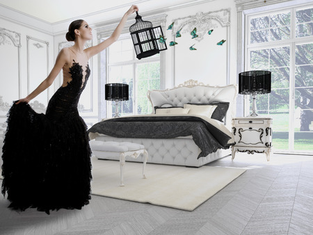 Photo pour Beautiful girl in a classic room with butterflies. 3d rendering - image libre de droit