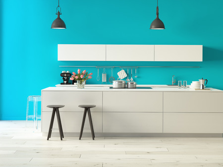 Photo pour 3d rendering. Luxurious kitchen with stainless steel appliances in a modern apartment - image libre de droit