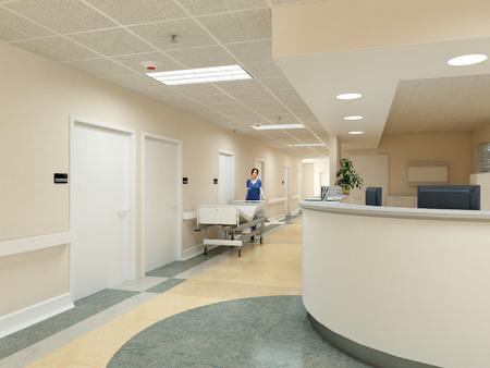 Foto de a very clean hospital interior. 3d rendering - Imagen libre de derechos