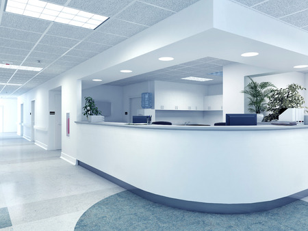 Photo pour a very clean hospital interior. 3d rendering - image libre de droit