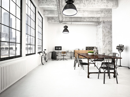 Photo pour 3d rendering of a modern industrial style loft - image libre de droit