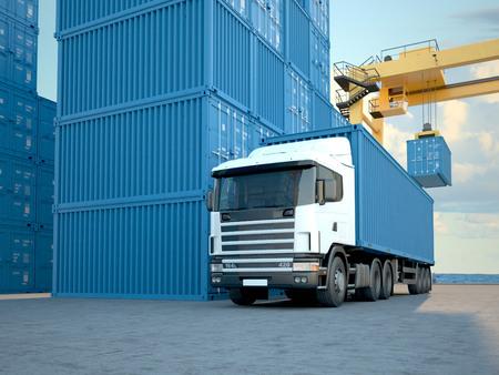 Foto de Stack of Freight Containers at the Docks with Truck. 3d rendering - Imagen libre de derechos