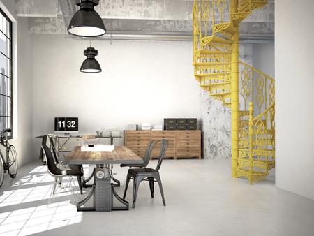 Foto de Spiral stairs and living room in modern loft.3d rendering - Imagen libre de derechos