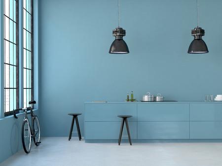Foto de interior, beautiful kitchen of an old loft. 3d rendering - Imagen libre de derechos
