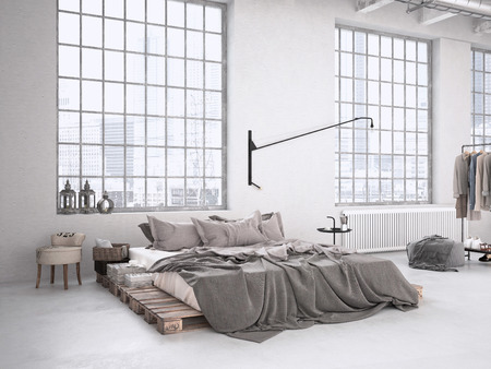 Photo pour modern industrial bedroom in a loft. 3d rendering - image libre de droit