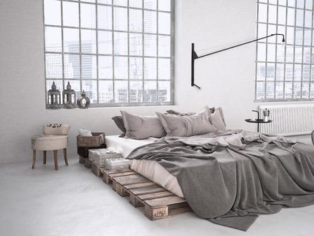 Photo pour modern industrial bedroom in a loft. 3d rendering - image libre de droit