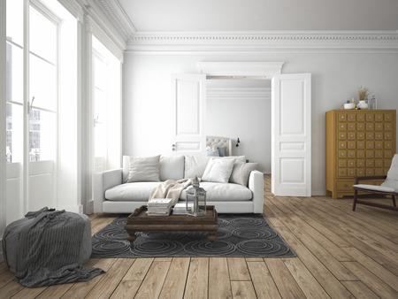Photo pour sofa of tissue in a modern living room. 3d rendering - image libre de droit