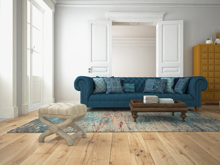 Photo pour sofa of tissue in a modern living room. 3d rendering - image libre de droit