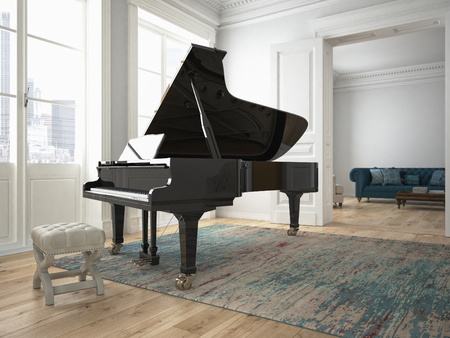 Photo for a black piano in a modern living room. 3d rendering - Royalty Free Image
