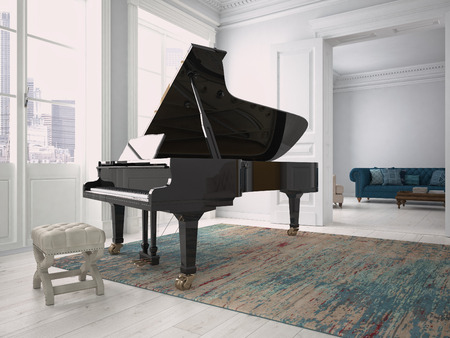 a black piano in a modern living room. 3d rendering