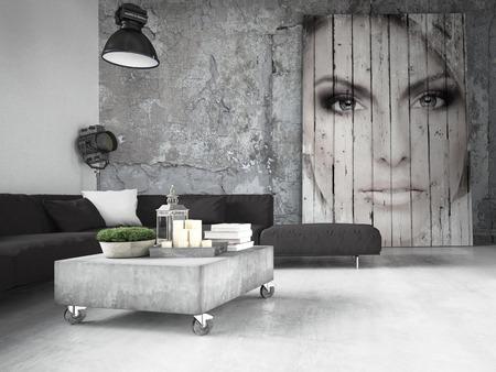 Foto de living room of a penthouse placed in loft. 3d rendering - Imagen libre de derechos