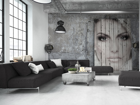 Photo for living room of a penthouse placed in loft. 3d rendering - Royalty Free Image