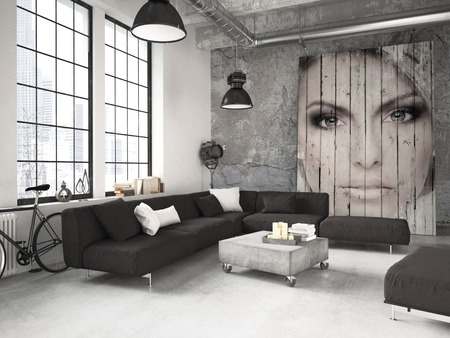 Photo pour living room of a penthouse placed in loft. 3d rendering - image libre de droit