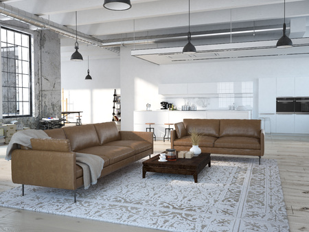 Foto für Modern loft with a kitchen and living room. 3d rendering - Lizenzfreies Bild