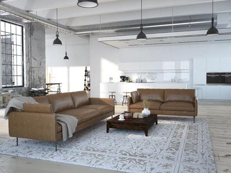Photo pour Modern loft with a kitchen and living room. 3d rendering - image libre de droit