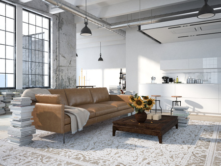 Foto de Modern loft with a kitchen and living room. 3d rendering - Imagen libre de derechos