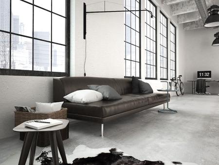 Foto de 3d rendering of a modern industrial style loft - Imagen libre de derechos