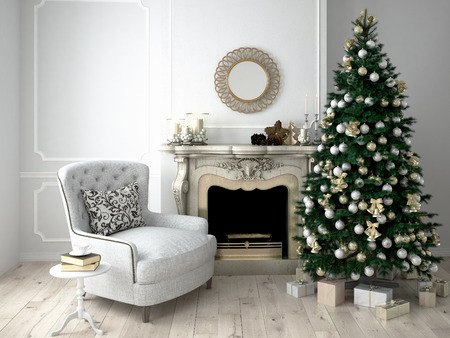 Foto de Christmas living room with a tree and fireplace. 3d rendering - Imagen libre de derechos