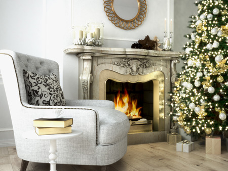 Photo for Christmas living room with a tree and fireplace. 3d rendering - Royalty Free Image