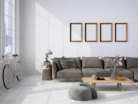 Foto de Contemporary living room loft interior. 3d rendering - Imagen libre de derechos