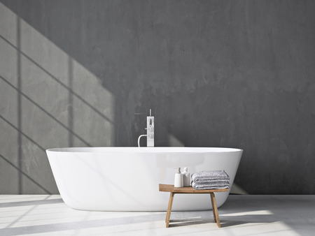 Foto de Modern grey bathroom. Spa interior. 3d rendering - Imagen libre de derechos