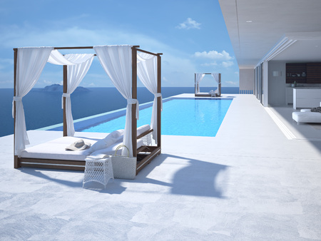Photo for A luxury swimming pool in santorini. 3d rendering - Royalty Free Image