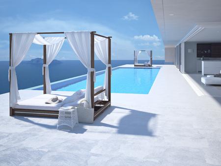 Foto de A luxury swimming pool in santorini. 3d rendering - Imagen libre de derechos