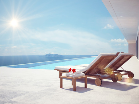 Photo for luxury swimming pool in summer. 3d rendering - Royalty Free Image