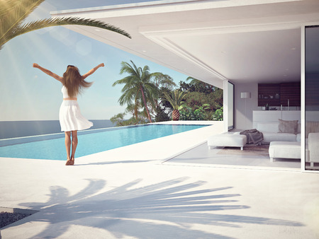 Photo pour woman in luxury spa resort near the swimming pool. 3d rendering - image libre de droit